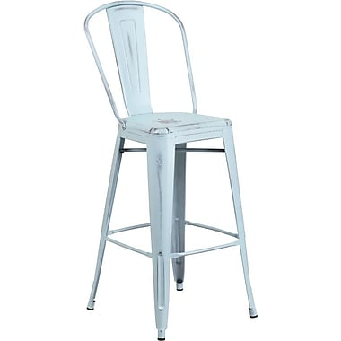 Flash Furniture 30'' High Distressed Dream Blue Metal Indoor Barstool with Back (ET353430DB)