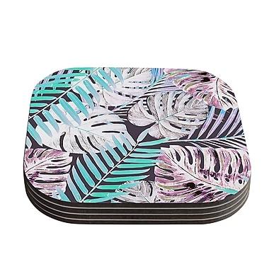 KESS InHouse Jungle Coaster (Set of 4); Midnight Pink / Blue