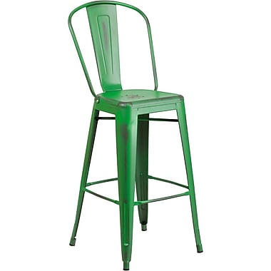 Flash Furniture 30'' High Distressed Green Metal Indoor Barstool with Back (ET353430GN)