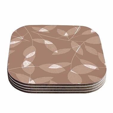 KESS InHouse Leaf Coaster (Set of 4); Brown / Beige