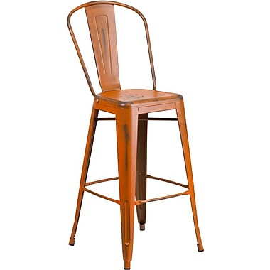 Flash Furniture 30'' High Distressed Orange Metal Indoor Barstool with Back (ET353430OR)