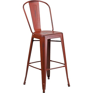 Flash Furniture 30'' High Distressed Kelly Red Metal Indoor Barstool with Back (ET353430RD)