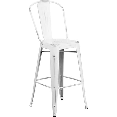 Flash Furniture 30'' High Distressed Metal Indoor Barstool with Back, White (ET353430WH)