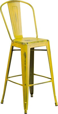 Flash Furniture 30'' High Distressed Yellow Metal Indoor Barstool with Back (ET353430YL)