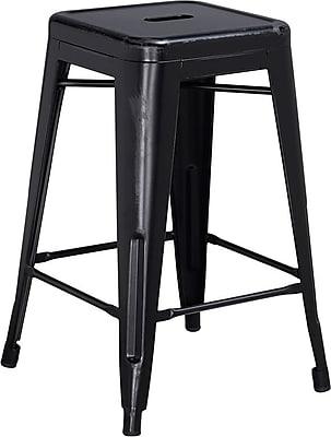 Flash Furniture 24'' High Backless Distressed Metal Indoor Counter-Height Stool, Black (ETBT350324BK)