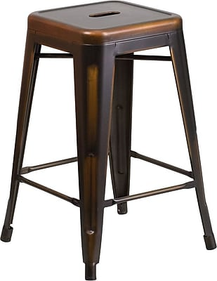 Flash Furniture 24'' High Backless Distressed Copper Metal Indoor Counter Height Stool (ETBT350324COP)