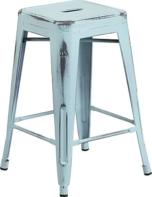 Flash Furniture 24''H Backless Metal Indoor Counter-Height Stool, Distressed Dream Blue (ETBT350324DB)