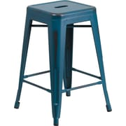 Flash Furniture 24'' High Backless Distressed Metal Indoor Counter-Height Stool, Kelly Blue (ETBT350324KB)