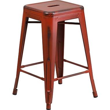 Flash Furniture – Tabouret de comptoir de 24po en métal vieilli sans dossier, pour intérieur, rouge Kelly (ETBT350324RD)