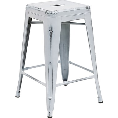 Flash Furniture 24'' High Backless Distressed White Metal Indoor Counter-Height Stool (ETBT350324WH)