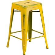 Flash Furniture 24'' High Backless Distressed Metal Indoor Counter-Height Stool, Yellow (ETBT350324YL)