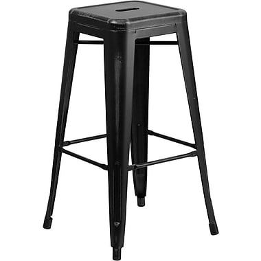 Flash Furniture – Tabouret de bar de 30 po en métal vieilli sans dossier, pour intérieur, noir (ETBT350330)