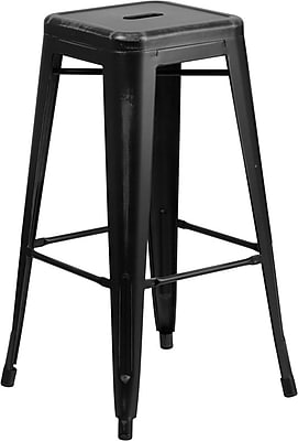Flash Furniture 30'' High Backless Distressed Metal Indoor Barstool, Black (ETBT350330)