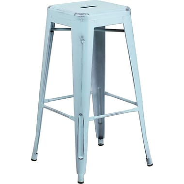Flash Furniture 30'' High Backless Distressed Metal Indoor Barstool, Dream Blue (ETBT350330DB)