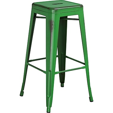 Flash Furniture 30'' High Backless Distressed Metal Indoor Barstool, Green (ETBT350330 lbs capacityGN)