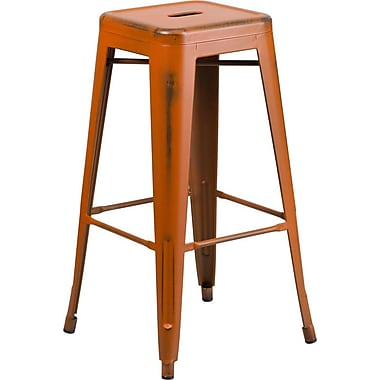 Flash Furniture 30'' High Backless Distressed Orange Metal Indoor Barstool (ETBT350330)