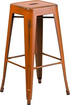 Flash Furniture 30'' High Backless Distressed Orange Metal Indoor Barstool (ETBT350330)