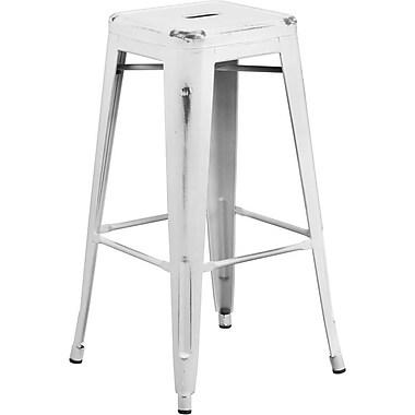 Flash Furniture – Tabouret de bar de 30 po en métal vieilli sans dossier, pour intérieur, blanc (ETBT350330)