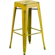 Flash Furniture 30'' High Backless Distressed Yellow Metal Indoor Barstool (ETBT350330)