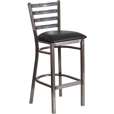 Flash Furniture HERCULES Series Clear Coated Ladder Back Metal Restaurant Barstool - Black Vinyl Seat (XUDG697CBARBKV)