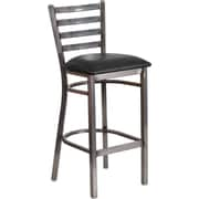 Flash Furniture HERCULES Series Clear Coated Ladder Back Metal Restaurant Barstool - Black Vinyl Seat (XUDG697CBARBKV)