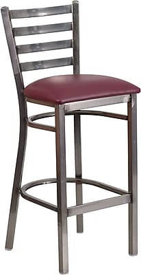 Flash Furniture HERCULES Series Clear-Coated Ladder-Back Metal Restaurant Barstool with Burgundy Vinyl Seat (XUDG697CBARBRV)