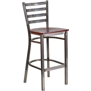 Flash Furniture HERCULES Series Clear Coated Ladder Back Metal Restaurant Barstool - Mahogany Wood Seat (XUDG697CBARMAW)