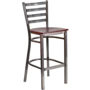 Flash Furniture HERCULES Ladder Back Metal Restaurant Barstool; Mahogany Wood Seat (XUDG697CBARMAW)