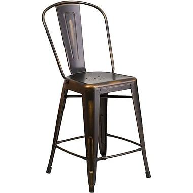 Flash Furniture – Tabouret de comptoir de 24 po avec dossier, pour intérieur, métal vieilli, cuivré (ET353424COP)