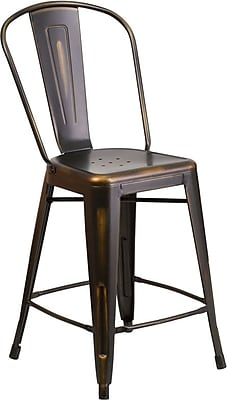 Flash Furniture 24'' High Distressed Metal Indoor Counter Height Stool with Back, Copper (ET353424COP)