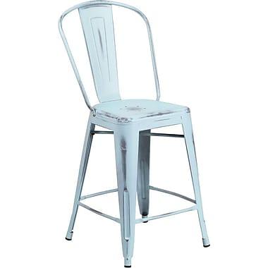 Flash Furniture – Tabouret de comptoir de 24 po avec dossier, pour intérieur, métal vieilli, bleu onirique (ET353424DB)