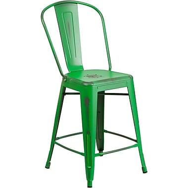 Flash Furniture – Tabouret de comptoir de 24 po avec dossier, métal vieilli, vert (ET353424GN)