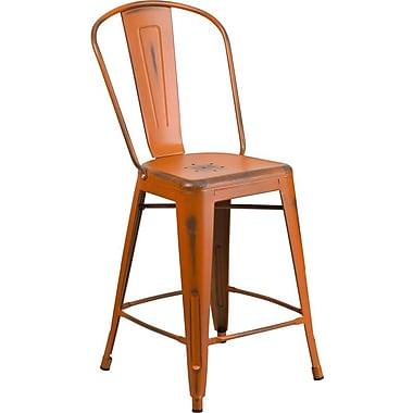 Flash Furniture – Tabouret de comptoir de 24 po avec dossier, pour l'intérieur, métal vieilli, orange (ET353424OR)