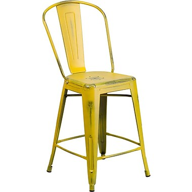 Flash Furniture 24'' High Distressed Metal Indoor Counter-Height Stool with Back, Yellow (ET343424YL)
