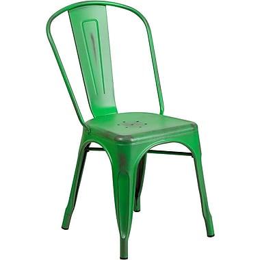 Flash Furniture – Chaise empilable en métal vieilli pour l'intérieur, vert (ET3534GN)
