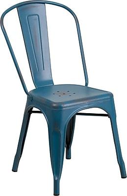 Flash Furniture Distressed Metal Indoor Stackable Chair, Kelly Blue (ET3534KB)