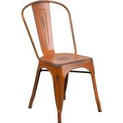 Flash Furniture Metal Indoor Stackable Chair, Distressed Orange (ET3534OR)