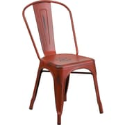 Flash Furniture Distressed Metal Indoor Stackable Chair, Kelly Red (ET3534RD)