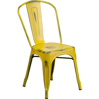 Flash Furniture Distressed Metal Indoor Stackable Chair, Yellow (ET3534YL)