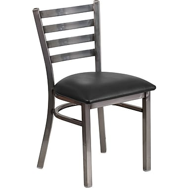 Flash Furniture HERCULES Series Clear Coated Ladder Back Metal Restaurant Chair, Black Vinyl Seat (XUDG694CLADBLKV)