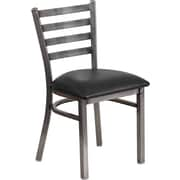 Flash Furniture HERCULES Series Clear Coated Ladder Back Metal Restaurant Chair, Black Vinyl Seat (XUDG694CLADBLKV)