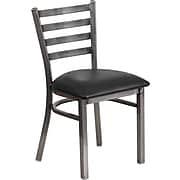 Flash Furniture HERCULES Ladder Back Metal Restaurant Chair; Black Vinyl Seat (XUDG694CLADBLKV)