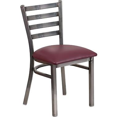 Flash Furniture – Chaise de restaurant à traverses horizontales, métal pâle, siège en vinyle bourgogne (XUDG694CLADBURV)