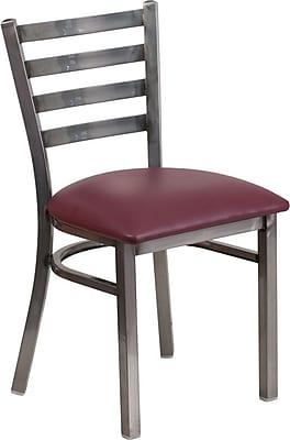 Flash Furniture HERCULES Series Clear Coated Ladder Back Metal Restaurant Chair, Burgundy Vinyl Seat (XUDG694CLADBURV)
