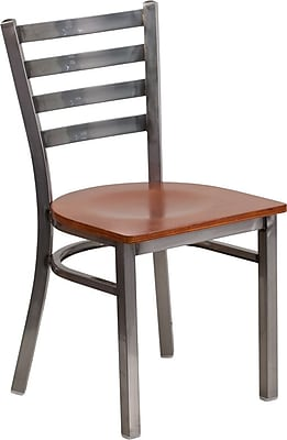 Flash Furniture HERCULES Series Clear Coated Ladder Back Metal Restaurant Chair - Cherry Wood Seat (XUDG694CLADCHYW)