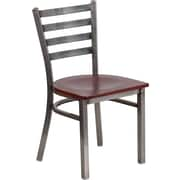 Flash Furniture HERCULES Series Clear Coated Ladder Back Metal Restaurant Chair, Mahogany Wood Seat (XUDG694CLADMAHW)