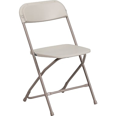 Flash Furniture HERCULES Series 300lbs Capacity Triple Braced Plastic Folding Chair, Beige (HF3MC309ASBGE)