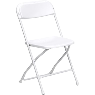 Flash Furniture HERCULES Series 800lbs Capacity Premium Plastic Folding Chair, Grey (LEL3WHITE)