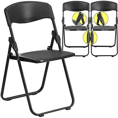 Flash Furniture HERCULES Series 880lbs Capacity Heavy-Duty Plastic Folding Chair with Built-In Ganging Brackets, Black (RUTIBLK)