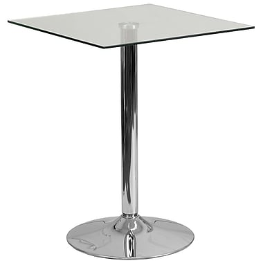 Flash Furniture 23.75'' Square Glass Table Clear with 30''H Chrome Base (CH4)